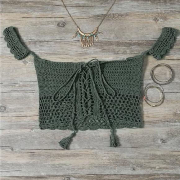 Tops | Green Crochet Festival Top | Poshmark